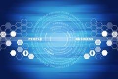 Abstrakcjonistyczny błękitny tło z biznesowymi słowami Zdjęcie Royalty Free
