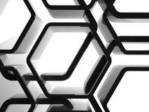 Abstrakcjonistyczny błyszczący czarny honeycomb ornament ilustracji