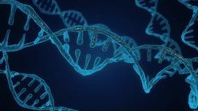 Abstrakcjonistyczny b??kitny b?yskotliwy DNA dwoisty helix z g??bi? pole Nauki animacja DNA budowa od debrises zbiory