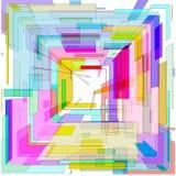 Abstrakcjonistyczny barwiony 3 d kwadratowego tła geometrycznego kształta dla logo royalty ilustracja