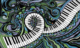Abstrakcjonistyczny barwiony tła składać się z fortepianowy kluczowy faborek ilustracja wektor