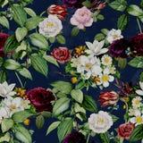 Abstrakcjonistyczny Bezszwowy elegancja wzór z rocznika ogródu kwiatami royalty ilustracja