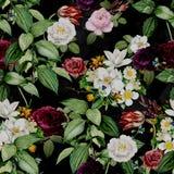 Abstrakcjonistyczny Bezszwowy elegancja wz?r z rocznika ogr?du kwiatami ilustracja wektor