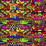 Abstrakcjonistyczny bezszwowy etniczny wzór w żywych kolorach, etniczny motyw ilustracji