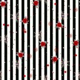 Abstrakcjonistyczny Bezszwowy geometryczny Horyzontalny pasiasty wzór z czarny i biały lampasami kwitnie i płatek śniegu również  royalty ilustracja