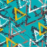 Abstrakcjonistyczny bezszwowy geometryczny wzór z trójbokami Grunge wzór dla chłopiec, dziewczyny, sport, moda Miastowa kolorowa  ilustracji