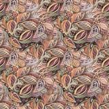 Abstrakcjonistyczny bezszwowy koloru tło z liśćmi, akrylowy obraz Zdjęcia Stock