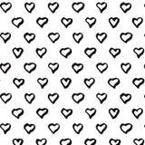 Abstrakcjonistyczny bezszwowy serce wzór czarny white Obraz Stock