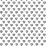 Abstrakcjonistyczny bezszwowy serce wzór Ręka remisu serca wzór Atrament ilustracja Fotografia Royalty Free
