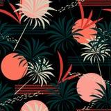 Abstrakcjonistyczny bezszwowy tropikalny wzór z liśćmi, drzewkami palmowymi i roślinami na czarnym tle jaskrawymi, 10 t?o projekt ilustracja wektor