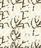 Abstrakcjonistyczny bezszwowy wzór z gałąź, brązem i bielem, royalty ilustracja