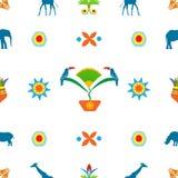 Abstrakcjonistyczny bezszwowy wzór na białym tle w afrykanina st Obraz Stock