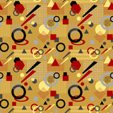 Abstrakcjonistyczny bezszwowy wzór w postmodern Memphis Stylowym białym czarnym czerwonym beżu royalty ilustracja