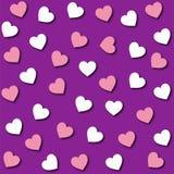 Abstrakcjonistyczny bezszwowy wzór z błękita i menchii sercami na fiołkowym tle Płytka Wielki dla valentine ` s dnia decoratio i  ilustracja wektor