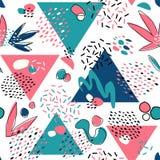 Abstrakcjonistyczny bezszwowy wzór z geometrycznymi elementami, trójboki, różne linie, kropkuje i kształtuje royalty ilustracja