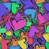 Abstrakcjonistyczny bezszwowy wzór z kolorowym sercem i cieniem ilustracja wektor