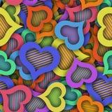 Abstrakcjonistyczny bezszwowy wzór z kolorowymi sercami i cieniem royalty ilustracja
