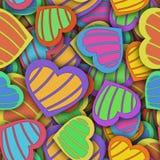 Abstrakcjonistyczny bezszwowy wzór z kolorowymi sercami i cieniem ilustracja wektor