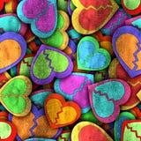 Abstrakcjonistyczny bezszwowy wzór z kolorowymi sercami i cieniem ilustracji