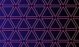 Abstrakcjonistyczny bezszwowy wzór z neonowymi rozjarzonymi trójbokami podpisuje tło Neonowi Trójgraniaści Elektryczni Techno świ ilustracji
