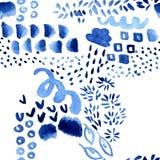 Abstrakcjonistyczny bezszwowy wzór z różnymi graficznymi błękitnego atramentu elementami - śmiesznego dziecka akwareli naiwna ilu zdjęcia stock