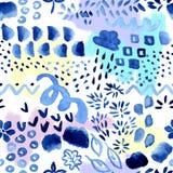 Abstrakcjonistyczny bezszwowy wzór z różnymi graficznymi elementami - śmieszna dziecko akwareli ilustracja w błękitnej i purpurow fotografia royalty free