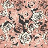 Abstrakcjonistyczny bezszwowy wzór z różami Zdjęcie Royalty Free