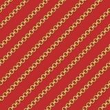 Abstrakcjonistyczny bezszwowy wzór z złoto łańcuchami na czerwonym tle dla tkaniny ilustracja wektor