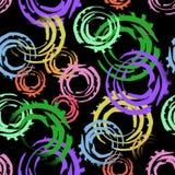 Abstrakcjonistyczny bezszwowy wzór z dużymi przecinającymi malującymi okręgami Jaskrawi kolory na czarnym tle Fotografia Royalty Free