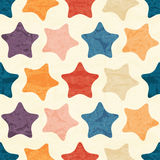 Abstrakcjonistyczny bezszwowy wzór z grunged kolorowymi gwiazdami Fotografia Royalty Free