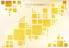 Abstrakcjonistyczny biały geometryczny na błyszczącym złotym kwadratowym mozaika wzoru tle i tekstura luksusu stylu royalty ilustracja
