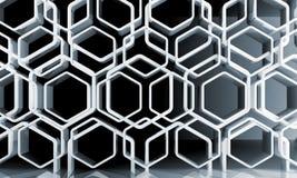 Abstrakcjonistyczny biały honeycomb wzór nad ścianą ilustracja wektor