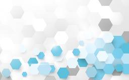 Abstrakcjonistyczny biały i błękitny deseniowy sześciokąta tło Zdjęcia Stock