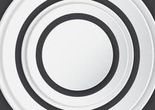 Abstrakcjonistyczny biały okrąg na czarnym tle z papierowym sztuka stylem Obrazy Royalty Free