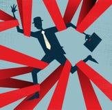 Abstrakcjonistyczny biznesmen łapiący w czerwonej taśmie. Obrazy Royalty Free