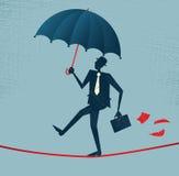 Abstrakcjonistyczny biznesmen chodzi niepewnego balansowanie na linie. royalty ilustracja