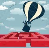 Abstrakcjonistyczny biznesmen znajduje szybką trasę nad labiryntem. Zdjęcia Stock