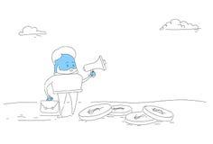 Abstrakcjonistyczny Biznesowego mężczyzna chwyta megafonu głośnika Cyfrowego strategii marketingowej pojęcie Obrazy Royalty Free