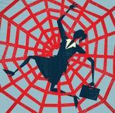 Abstrakcjonistyczny bizneswoman łapiący w czerwonej taśmie. Zdjęcia Royalty Free