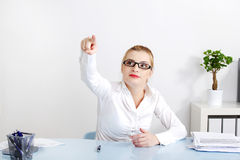 abstrakcjonistyczny bizneswomanu guzika dosunięcie Zdjęcia Royalty Free