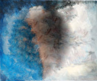 Abstrakcjonistyczny błękit & Brown ręka Malujący Brezentowy tło Obraz Royalty Free
