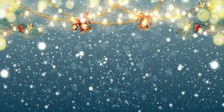 Abstrakcjonistyczny Bożenarodzeniowy tło z lekkimi girlandami, jodeł gałąź, dźwięczenie dzwonami, płatek śniegu i miejscem dla te ilustracji