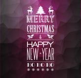 Abstrakcjonistyczny bożonarodzeniowe światła tło z retro typografią Zdjęcia Royalty Free