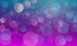 Abstrakcjonistyczny bokeh świateł skutek z zielonym purpurowym tłem, bokeh tekstura, bokeh tło, wektorowa ilustracja ilustracja wektor