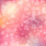 Abstrakcjonistyczny bokeh serca tło. Zdjęcie Royalty Free