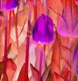 Abstrakcjonistyczny brąz i purpur menchii pomarańczowej czerwieni beż tulipanów i liści ilustracji