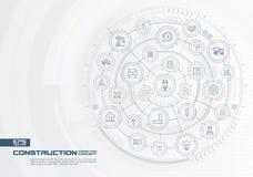 Abstrakcjonistyczny budowy technologii tło Digital łączy system z zintegrowanymi okręgami, cienkie kreskowe ikony ilustracji