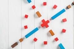 Abstrakcjonistyczny cel od colourful drewnianych bloków Pojęcie cel urzeczywistnienie projektowy sukces, biznes kopia obraz royalty free