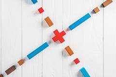Abstrakcjonistyczny cel od colourful drewnianych bloków Pojęcie cel urzeczywistnienie projektowy sukces, biznes kopia obrazy royalty free