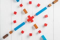 Abstrakcjonistyczny cel od colourful drewnianych bloków Pojęcie cel urzeczywistnienie projektowy sukces, biznes kopia fotografia stock